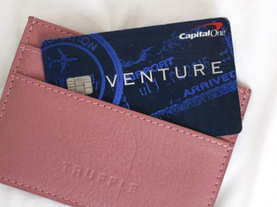 A capital one card in wallet.