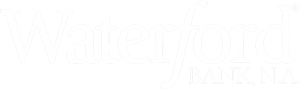 Waterford Logo in white, to take web users back to the homepage.