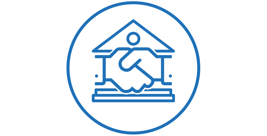 A handshake icon.