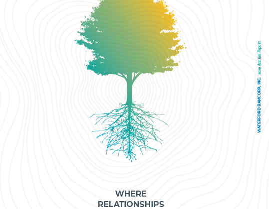 2019 Annual Report Cover features a tree and the Bank logo.