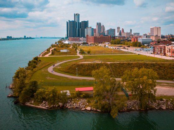 Michigan city scene on the lake.