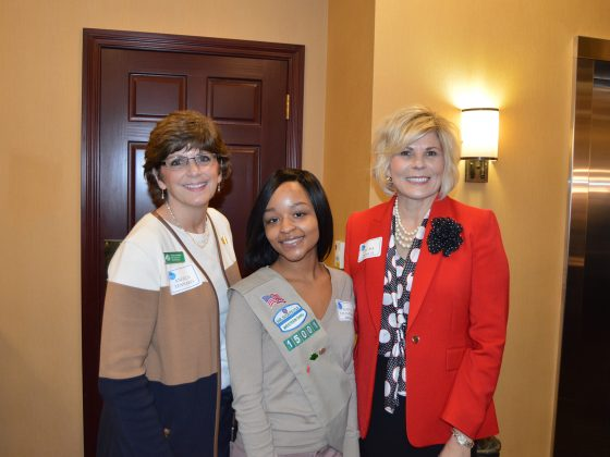 Wow foundation bankers meeting with a girl scouts troop.