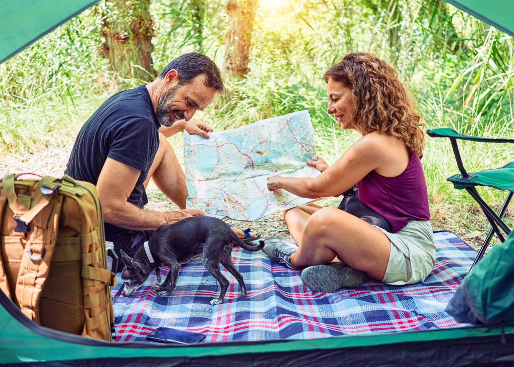 Couple camping with dog enjoying their summer travel.