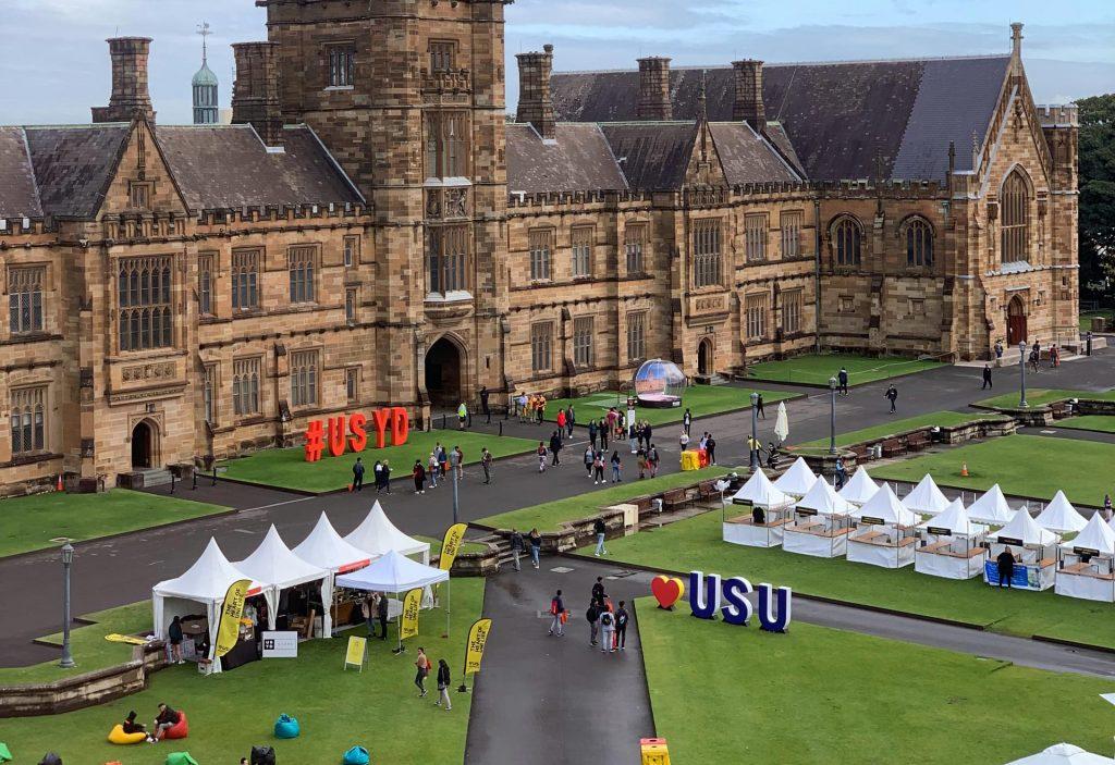 College campus hosting a vendor fair.